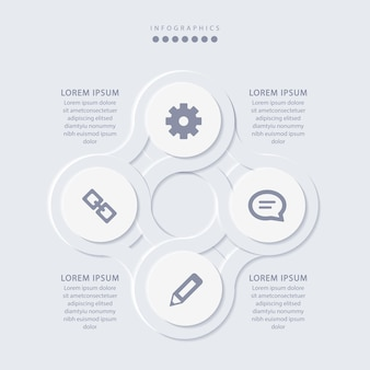 Infográfico minimalista elegante com 4 etapas