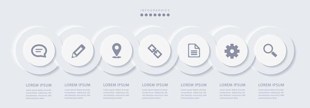 Infográfico minimalista elegante com 7 etapas