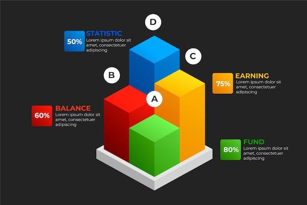 Infográfico modelo com barras 3d