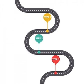 Infográfico modelo com diagrama de estrada de asfalto de três etapas