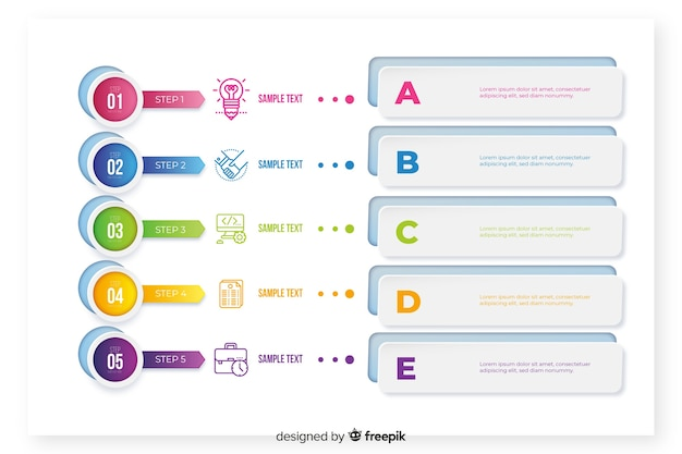 Infográfico modelo com elementos coloridos
