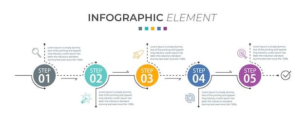 Infográfico modelo com ícones e 5 opções ou etapas
