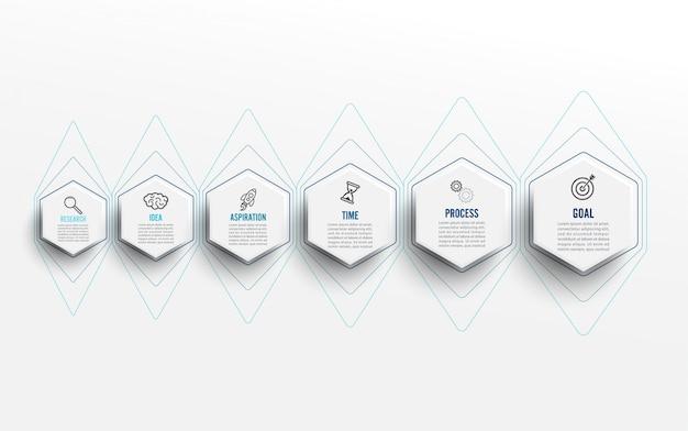 Infográfico modelo com ícones e 6 opções ou etapas