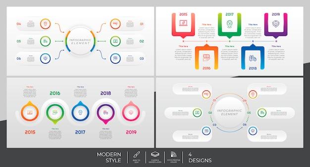 Infográfico modelo definido com estilo moderno e conceito colorido