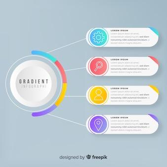 Infográfico modelo em estilo gradiente