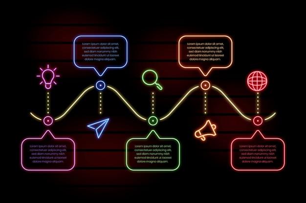 Infográfico modelo em estilo neon