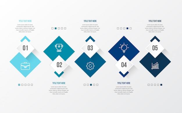 Infográfico moderno azul com mesa 3d