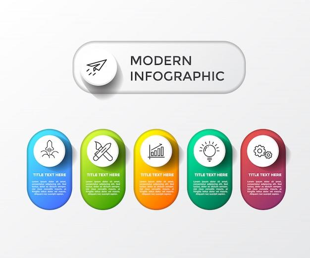 Infográfico moderno colorido com mesa 3d