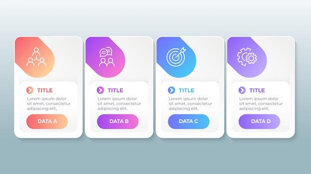 Infográfico moderno com 4 etapas de opções