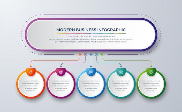Infográfico moderno com cor gradiente