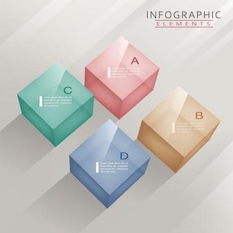 Infográfico moderno com cubos translúcidos Vetor Premium