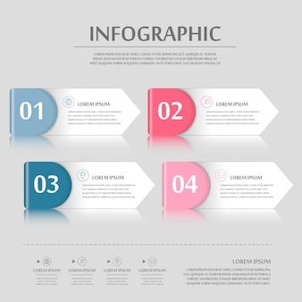 Infográfico moderno com elementos de rótulos coloridos