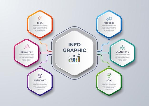 Infográfico moderno com forma de hexágono.