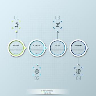 Infográfico moderno com quatro elementos circulares e caixas de texto