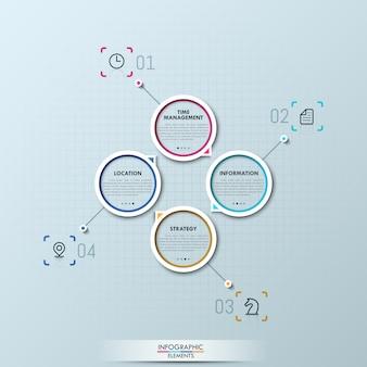 Infográfico moderno com quatro elementos circulares