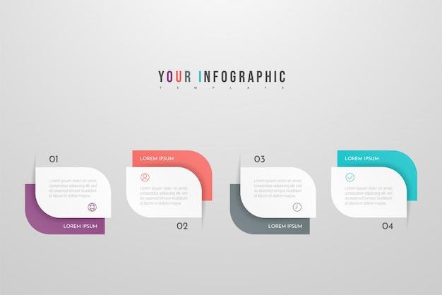 Infográfico moderno com quatro etapas ou elementos de processos. cronograma do conceito de negócio