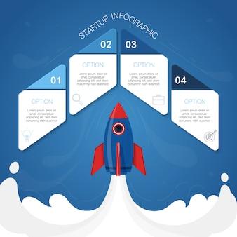 Infográfico moderno, conceito de foguete, ilustração com 4 forma geométrica para texto
