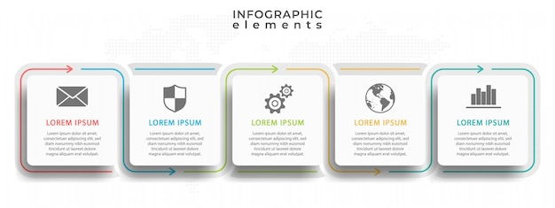 Infográfico moderno cronograma com cinco opções ou passo.