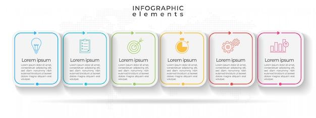 Infográfico moderno cronograma com seis opções ou passo.