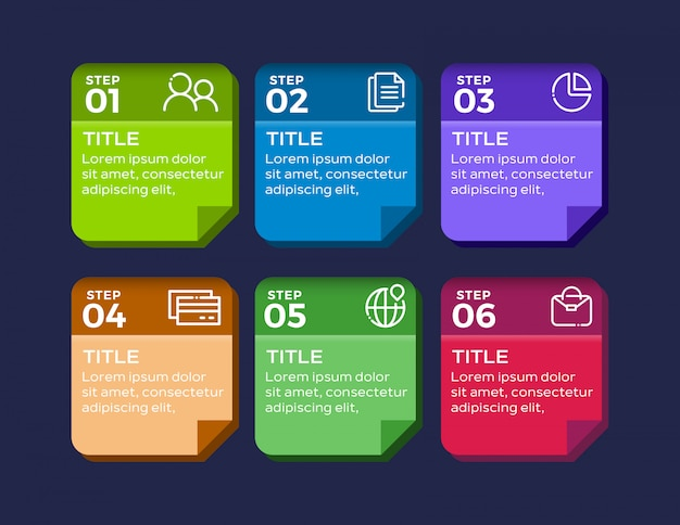 Infográfico moderno de 6 passos