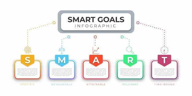 Infográfico moderno de metas inteligentes