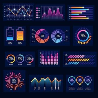 Infográfico moderno. gráficos do futuro da empresa monitoram a tela escura da interface do usuário tema balas quadros diagrama gráfico vetor elementos painel simples