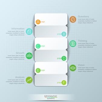 Infográfico moderno modelo, 3 cartões de papel frente e verso com letras e 6 caixas de texto