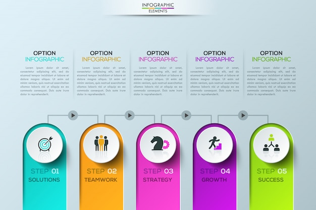 Infográfico moderno modelo, 5 elementos conectados por linhas com botões de play