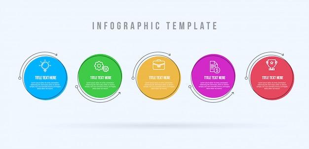 Infográfico moderno modelo 5 opções ou etapas