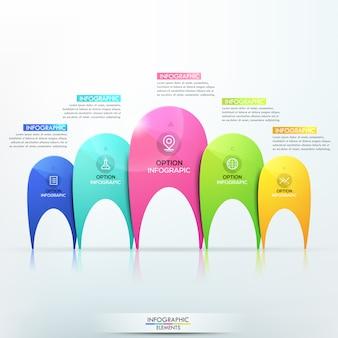 Infográfico moderno modelo com 5 elementos multicoloridos separados de tamanhos diferentes