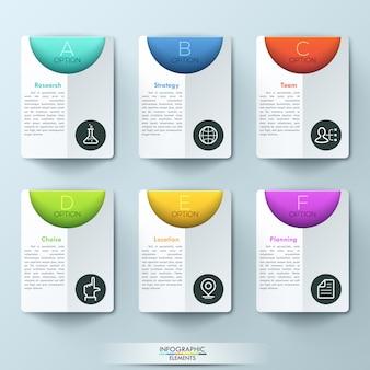 Infográfico moderno modelo com 6 pastas retangulares e caixas de texto