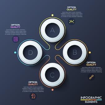 Infográfico moderno modelo com anéis brancos e letras dentro