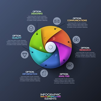 Infográfico moderno modelo com círculo dividido