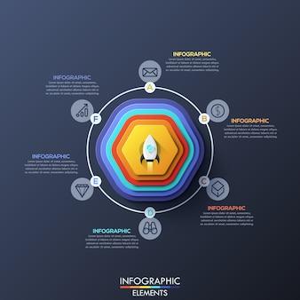 Infográfico moderno modelo com elementos circulares