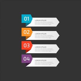 Infográfico moderno modelo com etapas para negócios