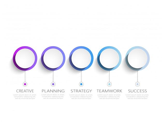 Infográfico moderno modelo com etapas