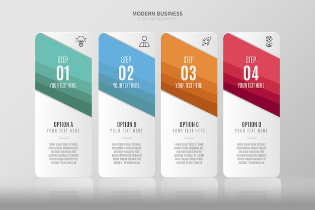 Infográfico moderno modelo com quatro etapas