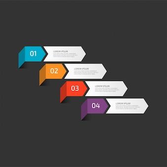 Infográfico moderno modelo em quatro etapas para os negócios.