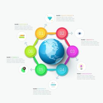 Infográfico moderno modelo, seis elementos circulares