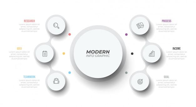 Infográfico moderno modelo. visualização de dados de negócios. gráfico de processo. design com 6 etapas, opções, partes ou processos.
