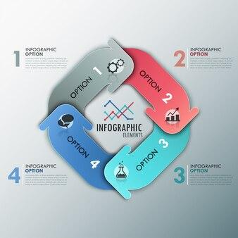 Infográfico moderno opções banner com setas de papel