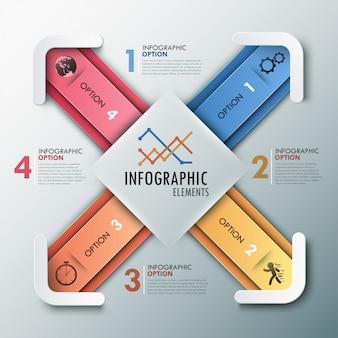 Infográfico moderno opções de banner com 4 flechas