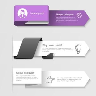 Infográfico moderno - opções ou banners de infográficos passo a passo