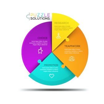 Infográfico moderno, quebra-cabeça circular dividido