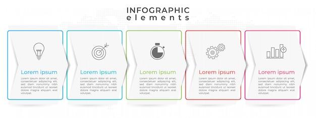 Infográfico moderno timeline 5 opção.