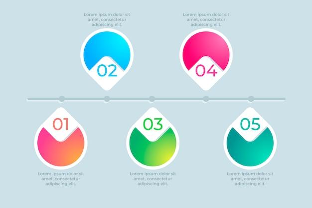 Infográfico moderno timeline em gradiente