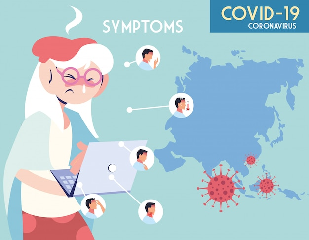 Infográfico mostrando incubação e sintomas com ícones e pessoa infectada