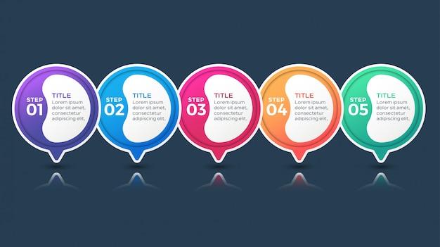 Infográfico multicolorido com 5 opções