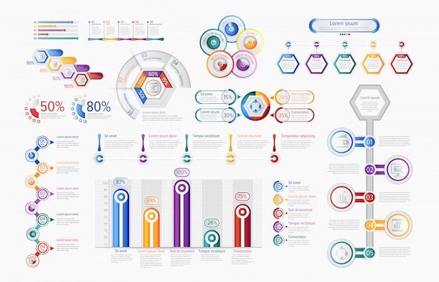 Infográfico multicolorido gráficos em conjunto