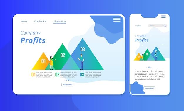 Infográfico na barra de gráfico de triângulo para apresentação corporativa